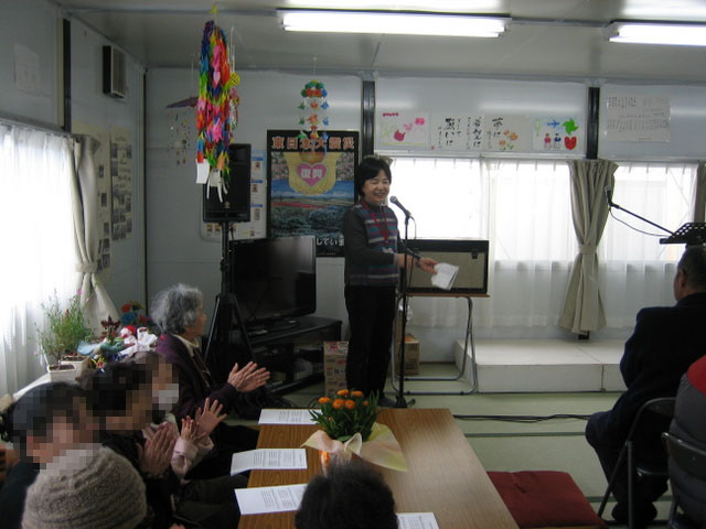 仮設万石浦団地での集会が始まります